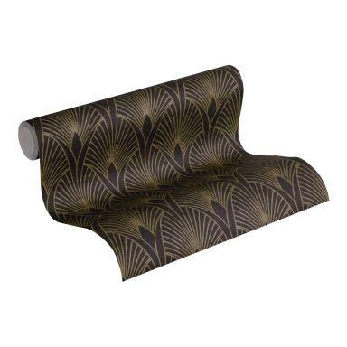 Livingwalls Vliestapete New Walls 50's Glam Art Deco Tapete metallic, schwarz