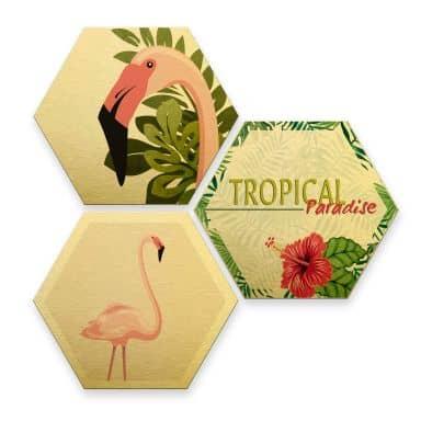 Alu-Dibond Print Gold - Flamingo