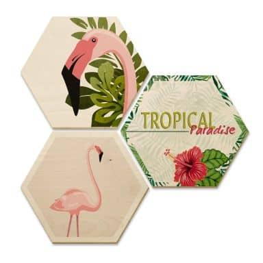 Hexagone - Bois placage de bouleau - Flamant rose 03 (Set de 3)
