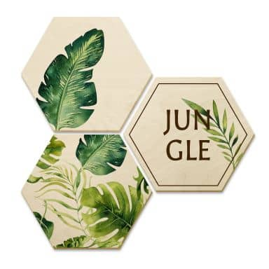 Hexagone - Bois placage de bouleau - Kvilis - Jungle (Set de 3)