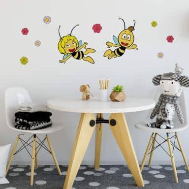 Wandtattoo Die Biene Maja und Willi fliegen