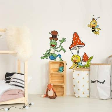 Wandtattoo Die Biene Maja mit Willi und Flip