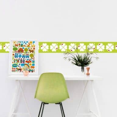Wandtattoo byGraziela - Bordüre Kleeblatt grün - 120x25 cm