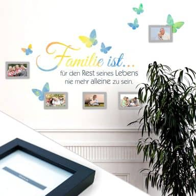 Sticker mural - Aquarelle - La famille c'est... incl. 5 cadres photos