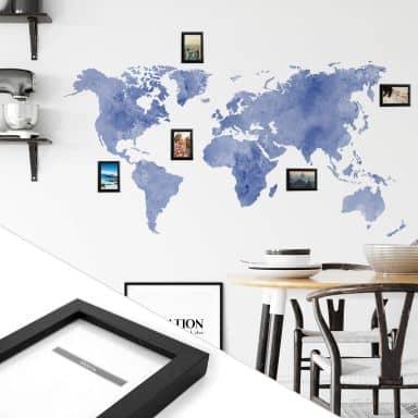 Wandtattoo Aquarell Weltkarte - blau inkl. 5 Bilderrahmen