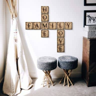 Buchstabensteine - Vintage Set - Family, Love, Home