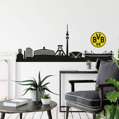 Wandtattoo BVB Skyline mit Logo farbig
