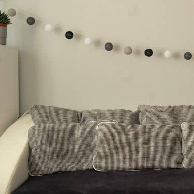 Cotton Ball Lights LED-Lichterkette schwarz grau 20-teilig
