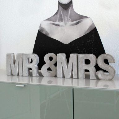 Lettres décoratives en béton MR & MRS