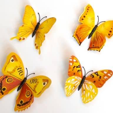 Sticker mural - Papillon 3D - Set de 12 - Jaune