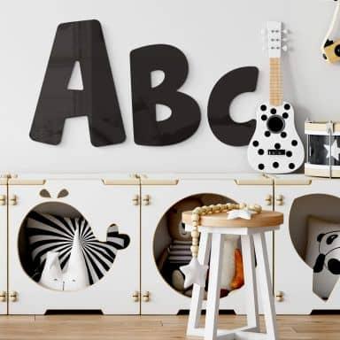 Lettres murales en verre acrylique - Alphabet Kids