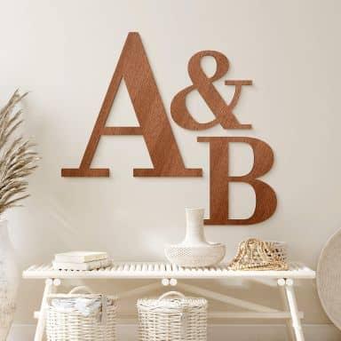 Lettres décoratives en bois d'acajou - Bodoni