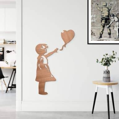 Houten Wanddecoratie Mahoniefineer Banksy - Girl with the Balloon