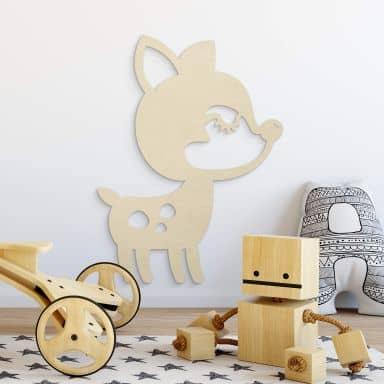 Décoration en bois de peuplier - Animal - Faon