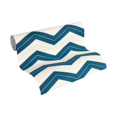 Designdschungel by Laura N. non-woven wallpaper blue, metallic, white
