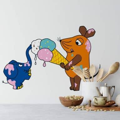 Wandtattoo Die Maus isst Eis