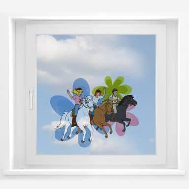 Fensterbild - Bibi, Tina und Alex Ausflug
