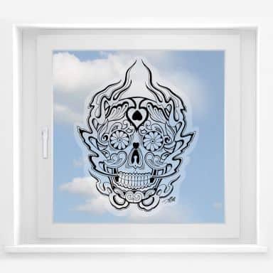 Window sticker miami Ink mexican deathmask 1