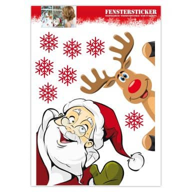 Décor de fenêtre : Père Noël et Renne