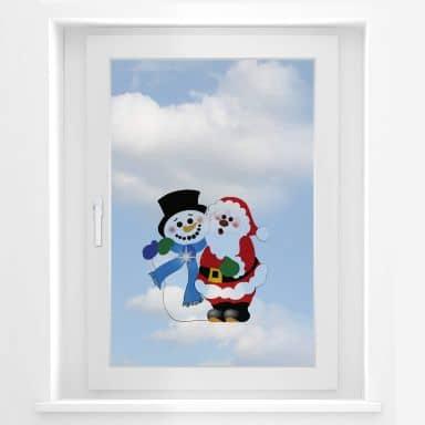 Vinduesudsmykning: Snemanden og Julemanden