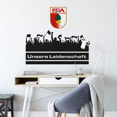 Wandtattoo FC Augsburg Unsere Leidenschaft mit Fans mit Logo farbig