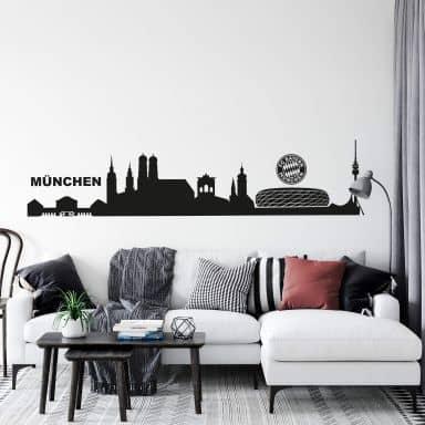 Muursticker München Skyline met Logo