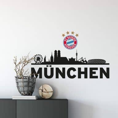 Muursticker Bayern München Skyline met logo