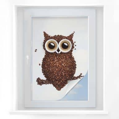 Window foil Coffee Owl