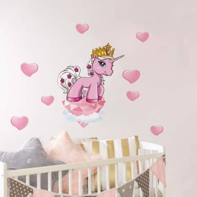 Wandtattoo Filly Unicorn Romance Rose