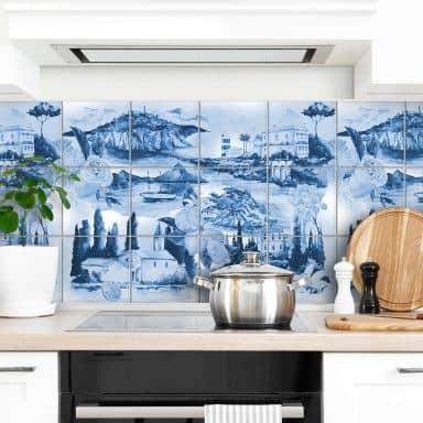 Fliesenaufkleber Landschaften in blau - 12er Set