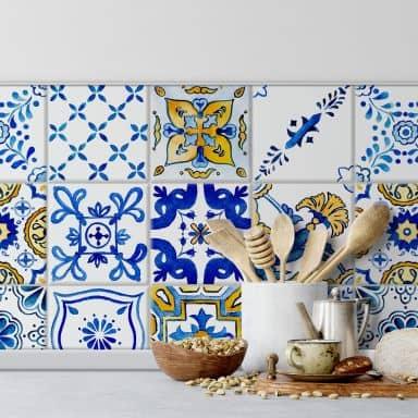 Fliesenaufkleber Watercolor mediterranes Flair - 12er Set