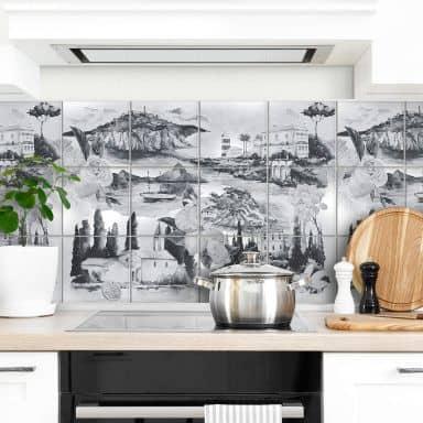 Fliesenaufkleber Landschaften in schwarz-weiß - 12er Set