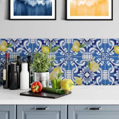 Stickers pour carrelage Sicilienne en bleu avec des citrons - Set de 12