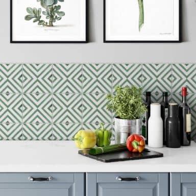 Fliesenaufkleber Watercolor - Diagonale Quadrate - Grün - 12er Set