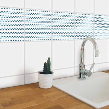Sticker pour carrelage aquarelle - Pointillés bleu - Set de 12