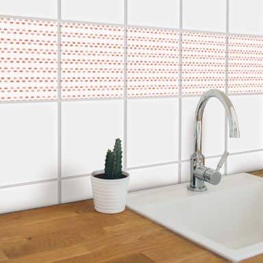 Sticker pour carrelage aquarelle - Pointillés corail - Set de 12