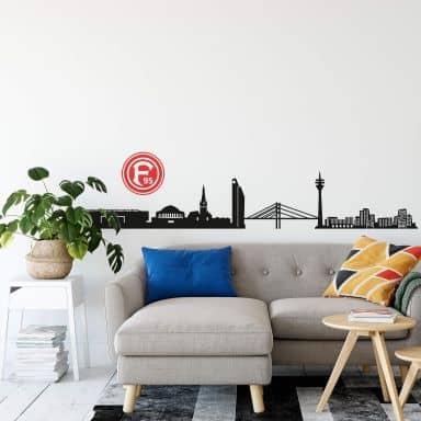 Wandtattoo Fortuna Düsseldorf Skyline mit Logo farbig