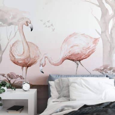 Fototapete Kvilis - Flamingos im Sonnenuntergang