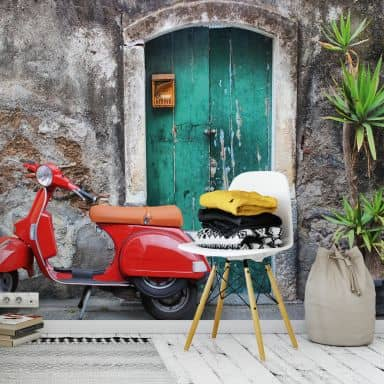 Fototapete - Red Scooter - 384x260 cm