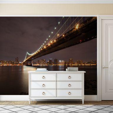 Manhattan Bridge at Night - Photo Wallpaper