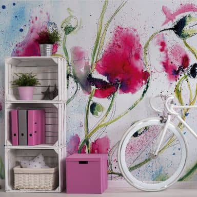 Poppies Watercolour - Photo Wallpaper