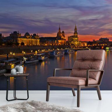 Fototapete Dresden im Nachtlicht - 384x260 cm