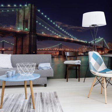 Manhattan Bridge at Night 2 - Photo Wallpaper
