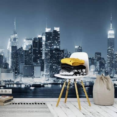 New York at Night 1 - Panorama - Photo Wallpaper