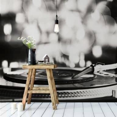Fototapete Vinyl Record on Turntables - 240x260 cm