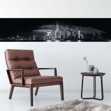 Fototapete Carvalho - Skyline at Night - Panorama - 48x260 cm