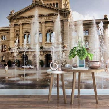 Fototapete Wasserspiel vor Schweizer Parlamentsgebäude