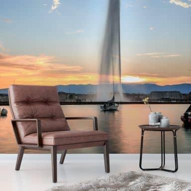 Fototapete Wasserfontäne im Genfer Sonnenuntergang