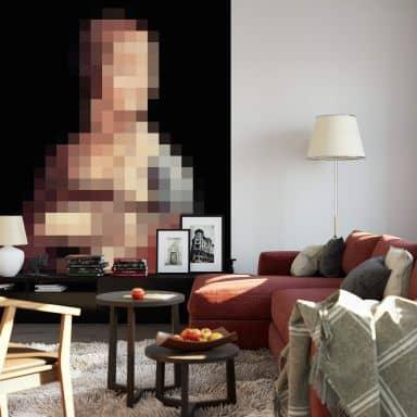 Fototapete Pixelart - da Vinci - Die Dame mit dem Hermelin - 192x260 cm