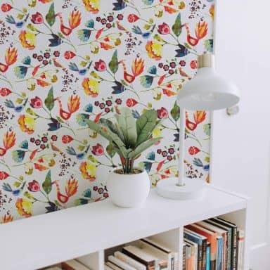 Fototapete Blanz - Blumen und Vögel